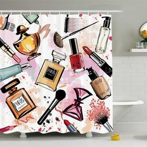 Shower Curtain Cosmetics Perfumes Print